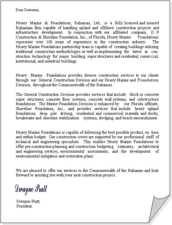 Construction Company Introduction Letter from www.hmfbahamas.com